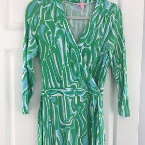 Lilly Pulitzer classic wrap dress blue and green M
